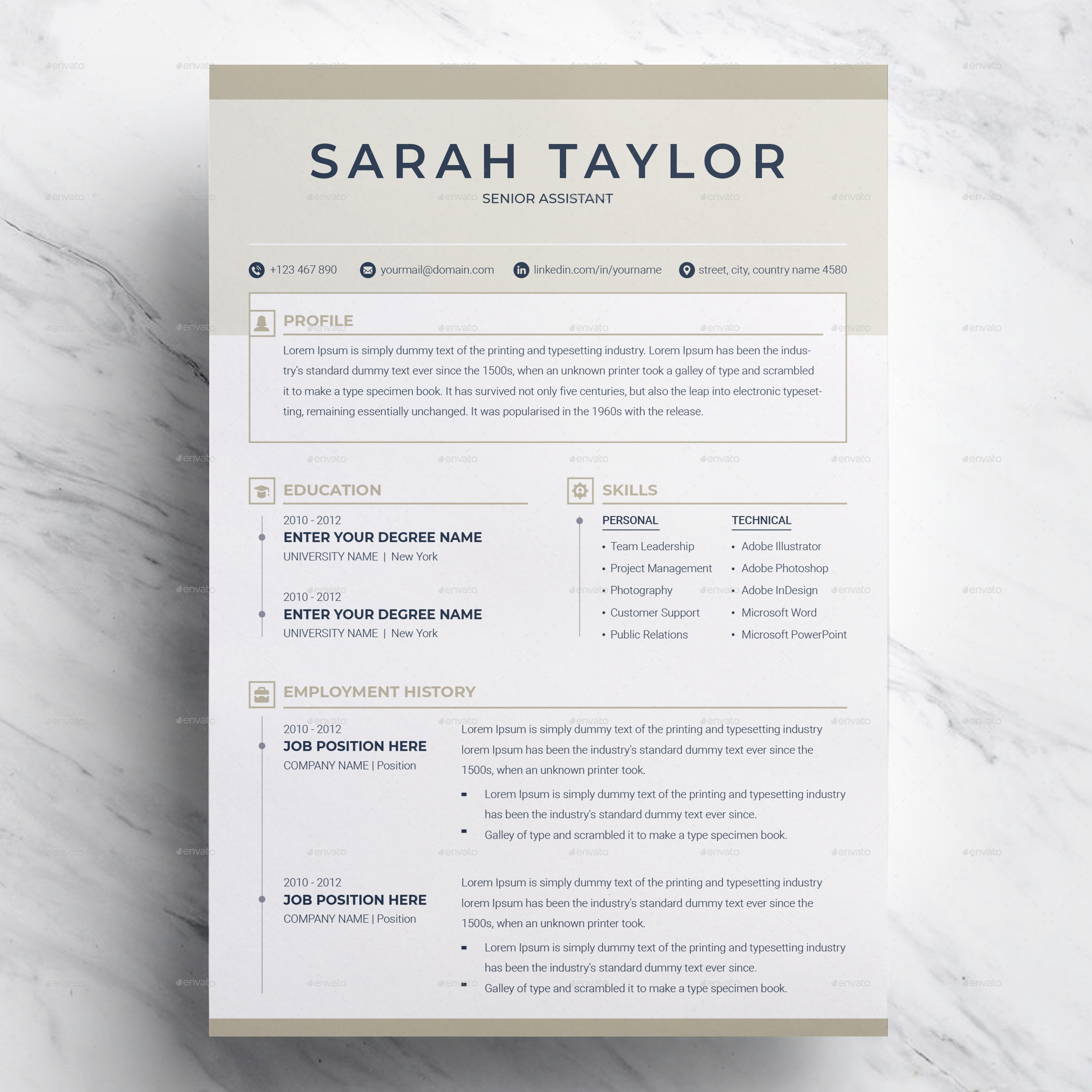 resume template 3 page cv template by resumeinventor graphicriver