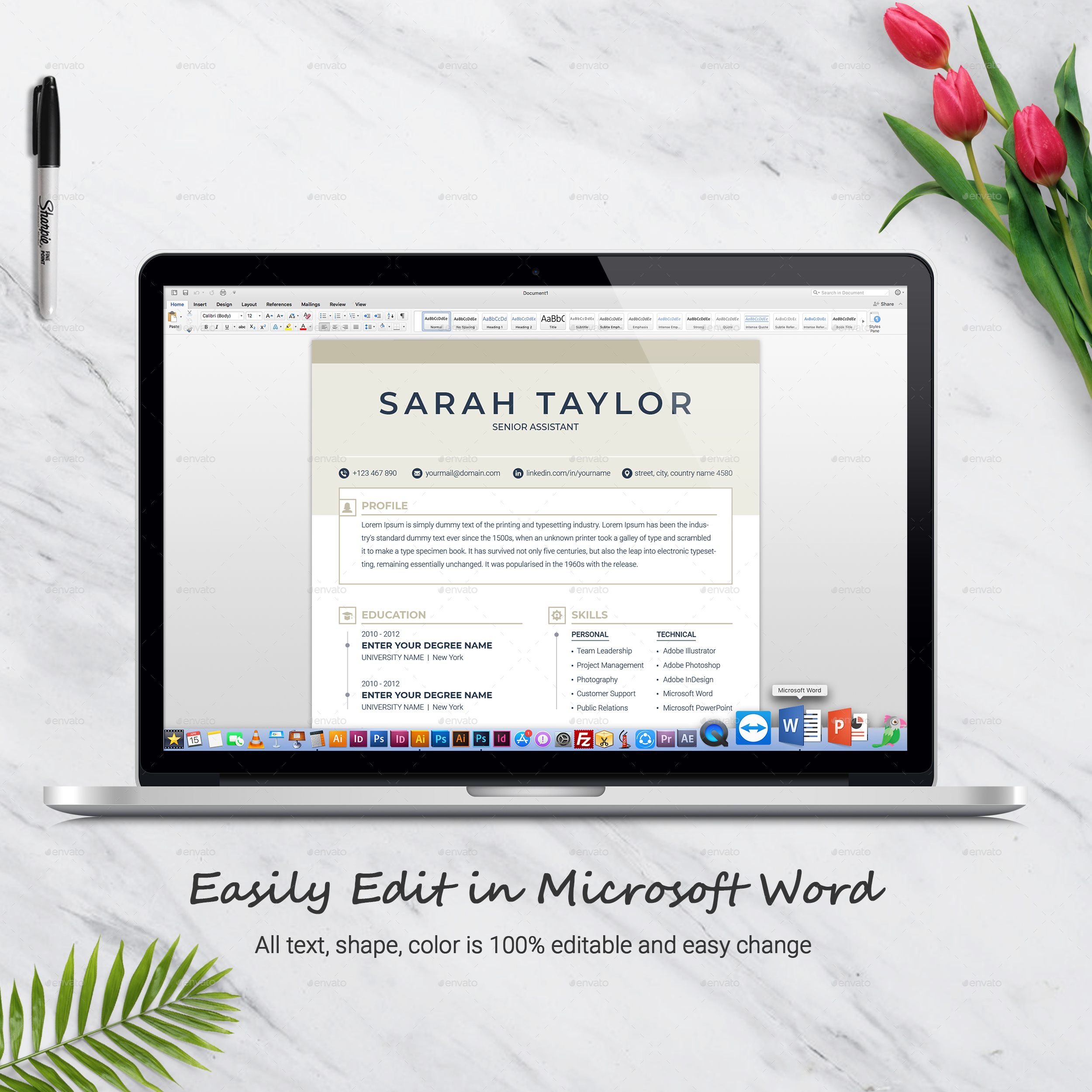 Resume Template 3 Page + CV Template by ResumeInventor | GraphicRiver