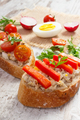 Closeup of sandwiches or baguette with mackerel or tuna fish paste, healthy nutrition - PhotoDune Item for Sale