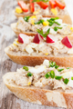 Closeup of crusty baguette with mackerel or tuna fish paste, healthy nutrition - PhotoDune Item for Sale