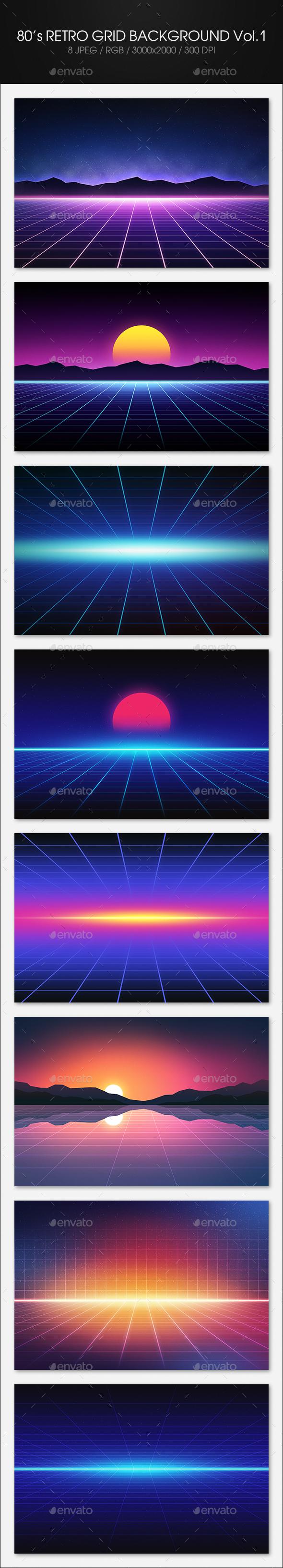 80's Retro Grid Background Vol.1 - Tech / Futuristic Backgrounds