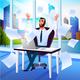 Happy Businessman Enjoying Success Cartoon Vector