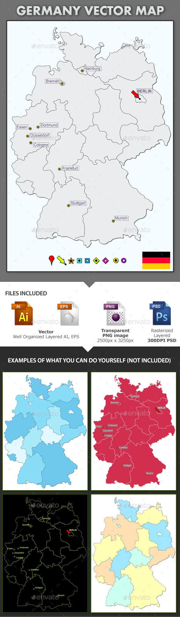 Germany Layered Vector Map - Web Elements Vectors