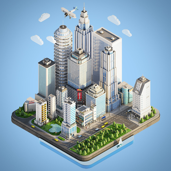 Low Poly Isometric City Town