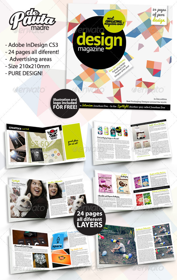 Design Magazine InDesign Template by DePautaMadre | GraphicRiver