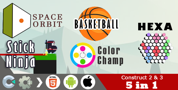 5 in 1 Construct 2 & 3 HTML5 Games Pack (C2 / C3 CAPX)            Nulled
