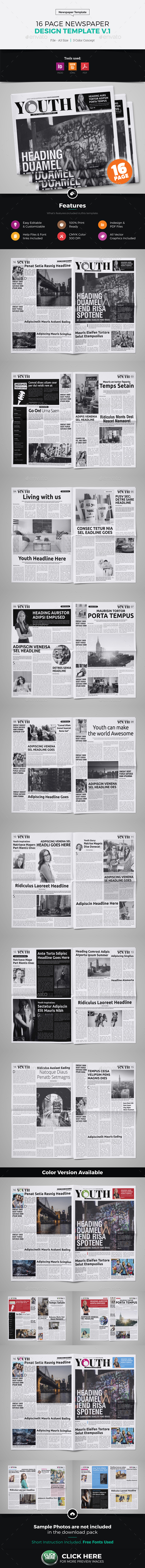 16 Page Newspaper Design v1 - Newsletters Print Templates