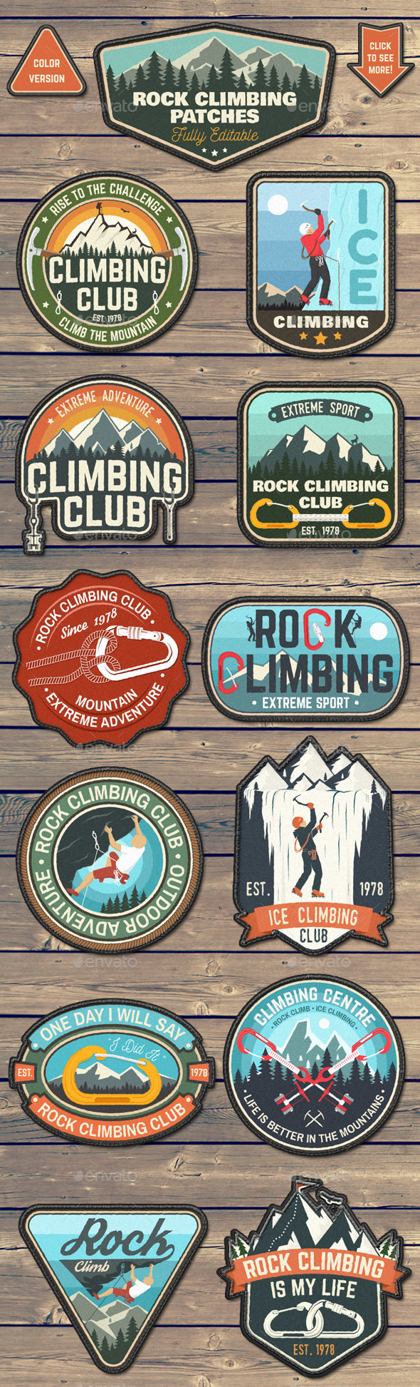 Rock Climbing Patches - Badges & Stickers Web Elements