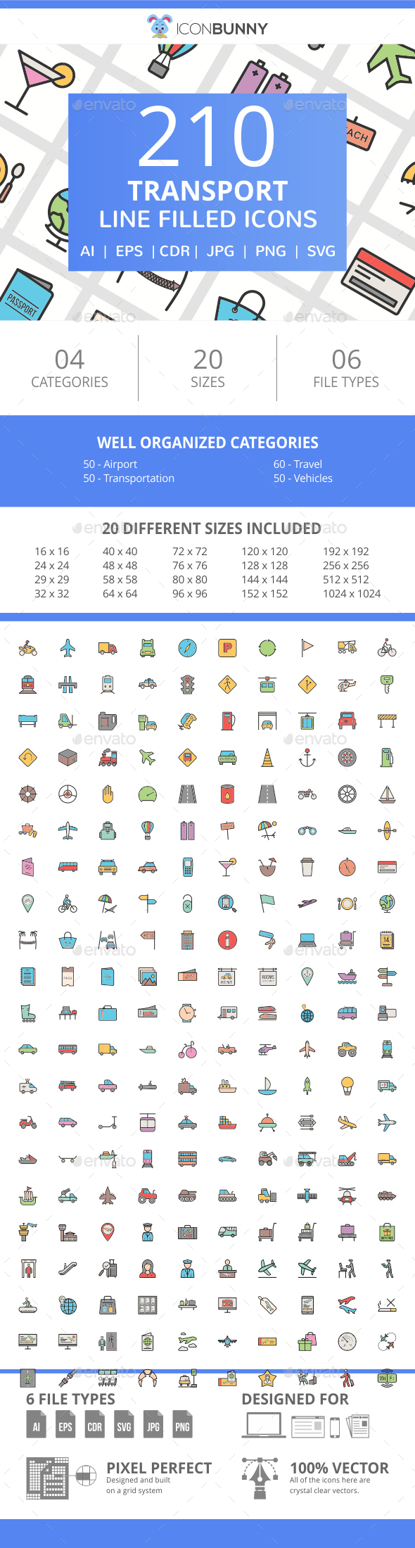 210 Transport Filled Line Icons - Icons