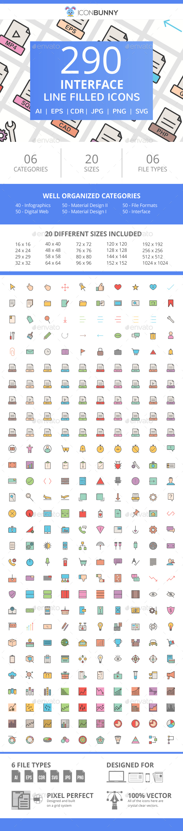 290 Interface Filled Line Icons - Icons