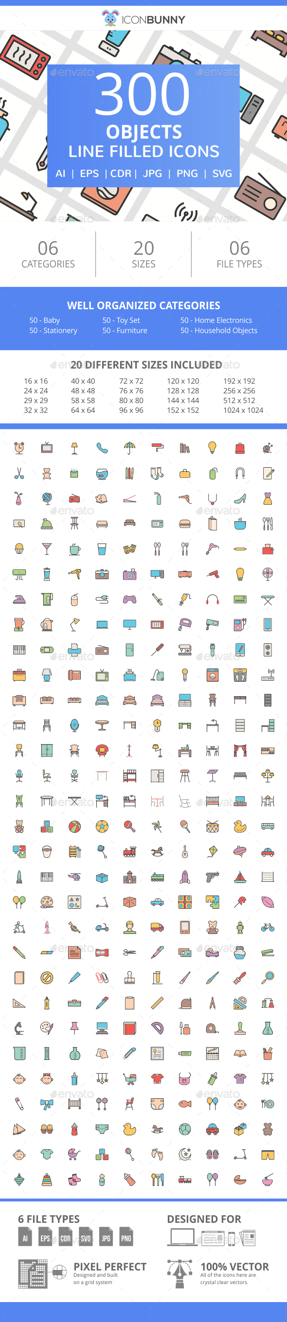 300 Objects Filled Line Icons - Icons