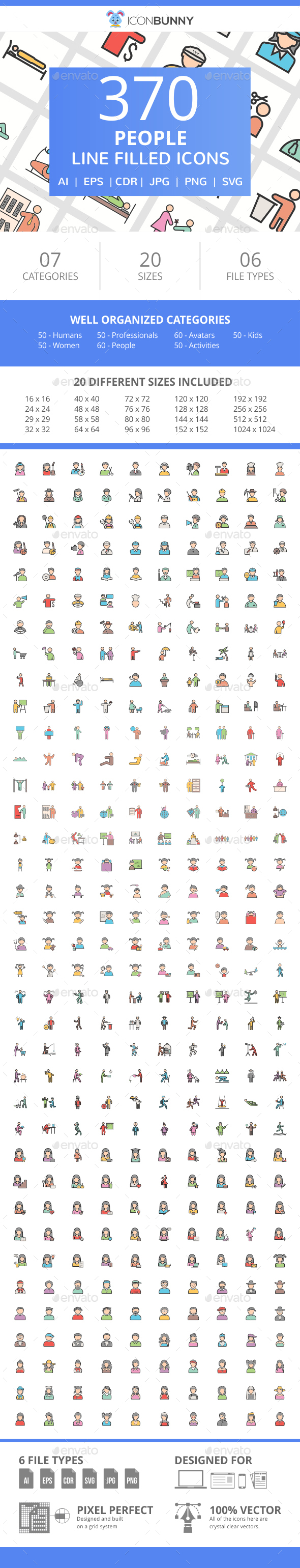 370 People Filled Line Icons - Icons