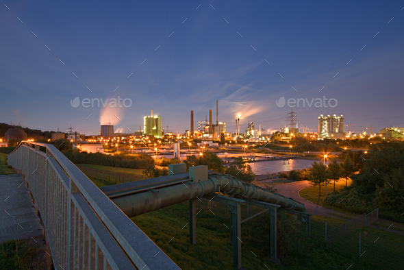 Industry And Pipeline At Night - Stock Photo - Images
