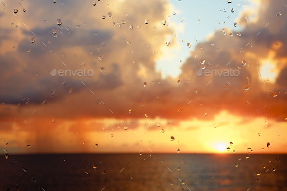 Raindrops And Rain Clouds - Stock Photo - Images