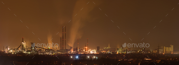 Coking And Steel Plant At Night - Stock Photo - Images