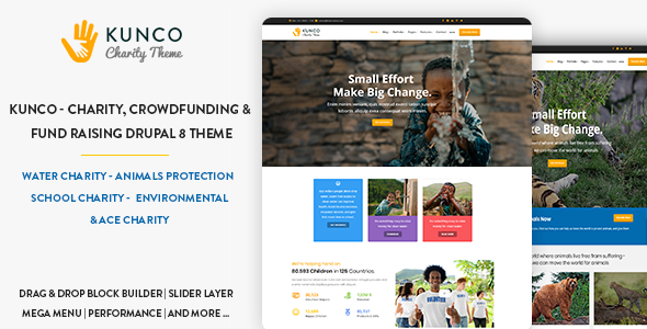 Kunco - Charity, Crowdfunding & Fund Raising Drupal 8.6 Theme - Nonprofit Drupal
