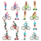 People Riding Hoverboard, Bicycle Vector. City - GraphicRiver Item for Sale
