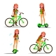 Teen Girl Riding Hoverboard, Bicycle Vector. City - GraphicRiver Item for Sale