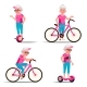 Old Woman Riding Hoverboard, Bicycle Vector. City