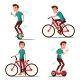 Teen Boy Riding Hoverboard, Bicycle Vector. City