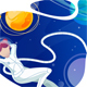 Woman Astronaut Relaxes in Space - GraphicRiver Item for Sale
