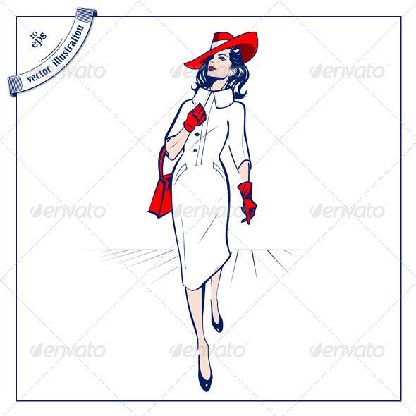 Shopping Stylish Woman - People Characters