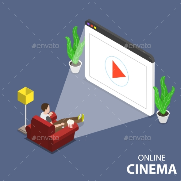 Online Home Movie Theatre Flat Isometric Vector - Media Technology