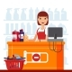 Woman Cashier in Supermarket with Household - GraphicRiver Item for Sale
