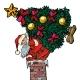 Santa Claus with a Christmas Tree Climbs the