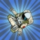 Astronaut the Yoga Lotus Position. Top View