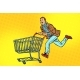 Men Are on Sale. Shopping Cart Shop Trolley