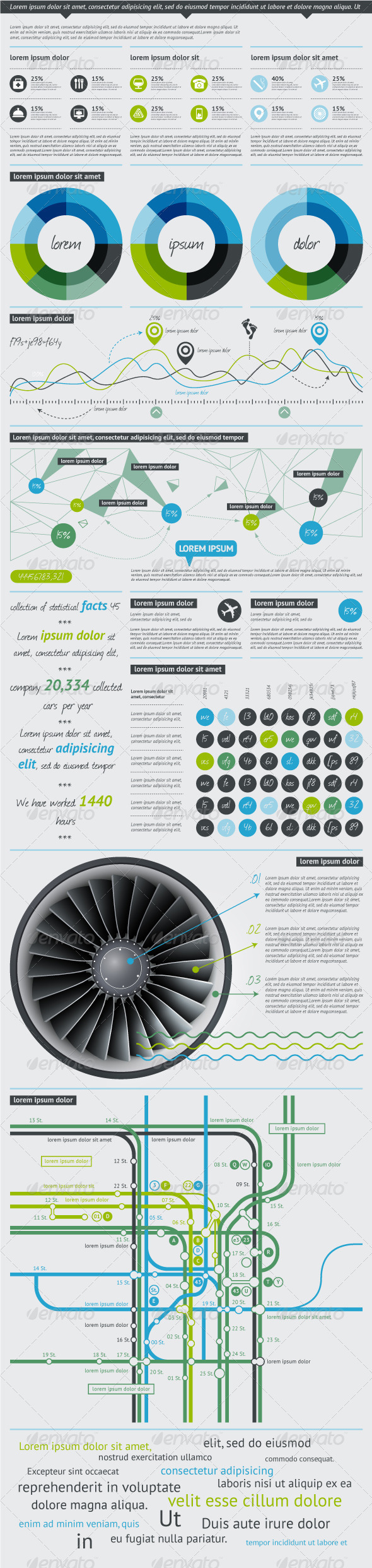 Elements of Infographics with Buttons and Menus  - Infographics