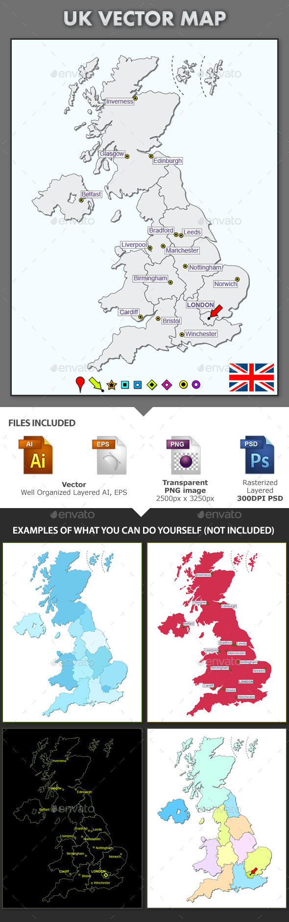 UK Layered Vector Map - Miscellaneous Vectors