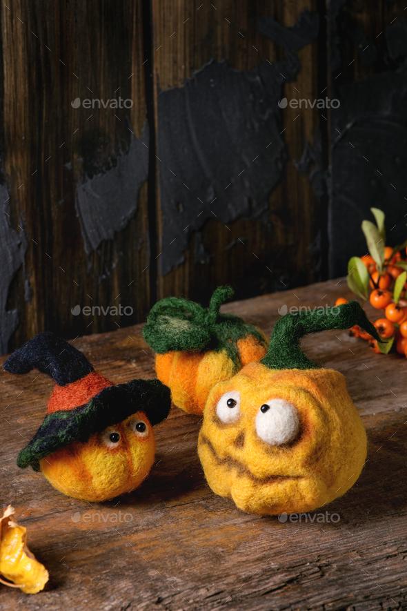 Needle felted pumpkin jack - Stock Photo - Images