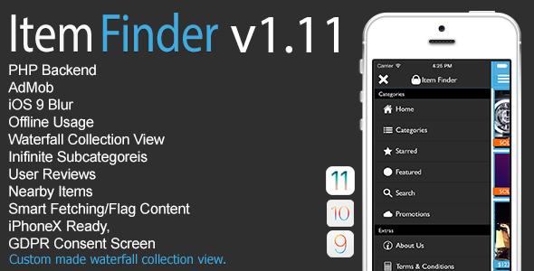 Item Finder MarketPlace Full iOS App v1.11 - CodeCanyon Item for Sale