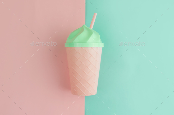 Fancy glass on pastel colors background, Summer concept - Stock Photo - Images