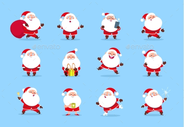 Santa Claus. Cartoon Christmas Fun Character Set - People Characters