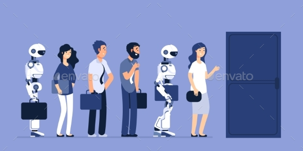 Robots and People Unemployment. Android and Man - Characters Vectors