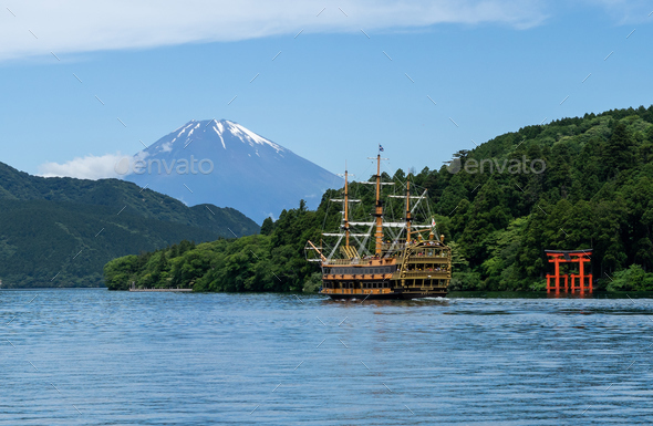 Hakone shrine with sightseeing cruise and mt.Fuji at  lake Ashi, Japan - Stock Photo - Images