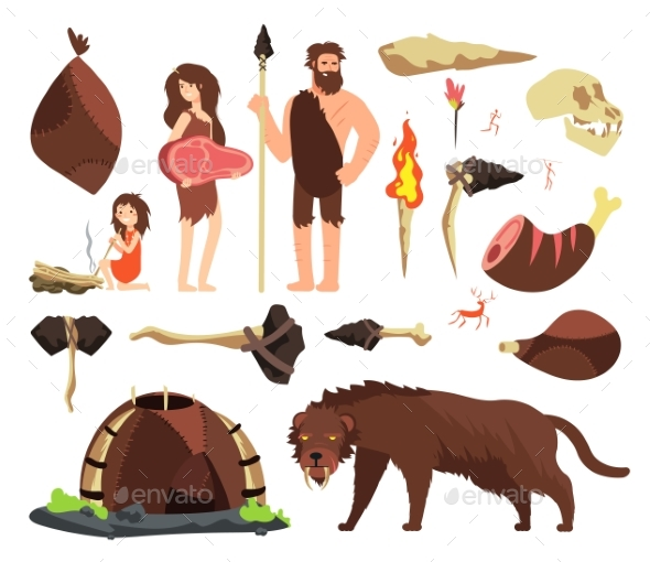 Stone Age Caveman. Hunting Neolithic People - Characters Vectors