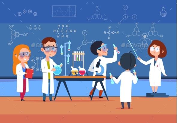 School Kids in Chemistry Lab. Children in Science - People Characters