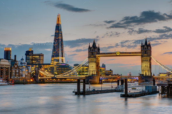 The Tower Bridge in London after sunset - Stock Photo - Images