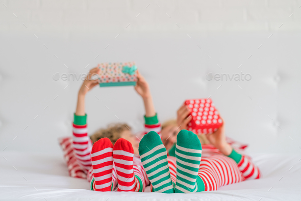 Happy family in Christmas eve - Stock Photo - Images