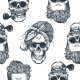Seamless Pattern in Pop Art Style with Skeleton