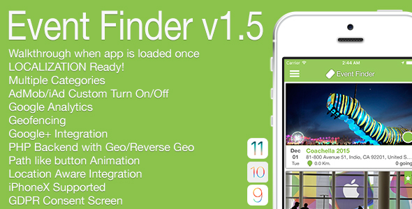 Event Finder Full iOS Application v1.5 - CodeCanyon Item for Sale