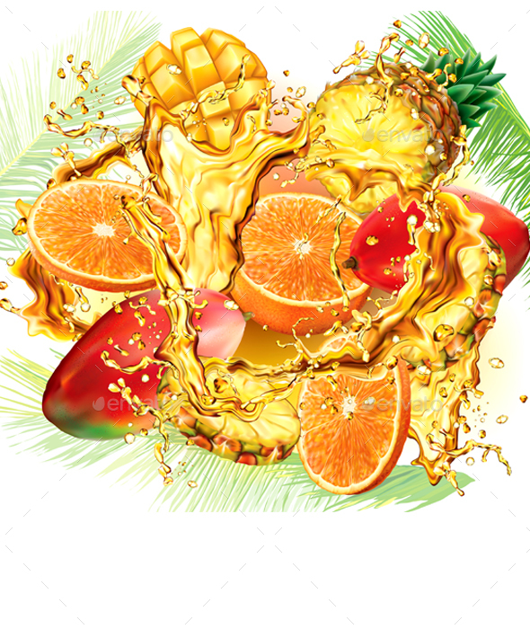 Mix Tropical Fruits and Palm Leaves into of Splashes Juices - Food Objects
