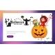 Cartoon Kids Sitting on Halloween Pumpkin Poster