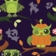 Happy Halloween Owls Flat Seamless Pattern - GraphicRiver Item for Sale