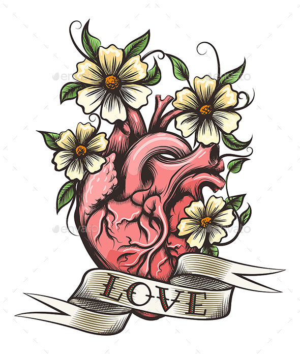 Human Heart with Flowers - Tattoos Vectors