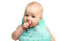 Cute baby girl eating blackberriers over white - PhotoDune Item for Sale